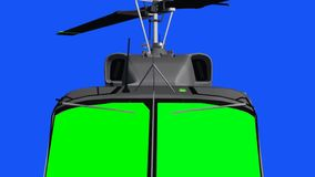 Flying helicopter with green screen cockbit - blue green screen