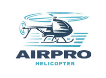Flying helicopter, logo emblem, light background Royalty Free Stock Photo
