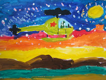 Flying helicopter - painted by child Royalty Free Stock Photography