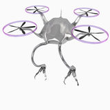 A flying helicopter with robotic arms. A flying helicopter with robotic arms isolated on white background Royalty Free Stock Images