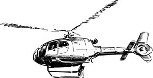 Flying helicopter. Vector drawing of a flying helicopter Stock Photos