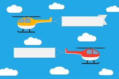 Flying helicopters with banners. Set of advertising ribbons on blue sky background. Vector. Flying helicopters with banners. Set of advertising ribbons on blue vector illustration