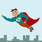 A flying hero. A super hero in the sky royalty free stock images
