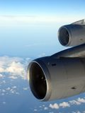 Flying High - 2 Jet Engines at Altitude Stock Images
