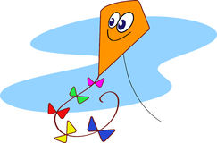 Flying high. Colourfull kite high in the sky Royalty Free Stock Photos