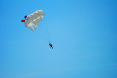 Flying high on the parachute Royalty Free Stock Photos