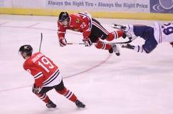 Flying in hockey stock image