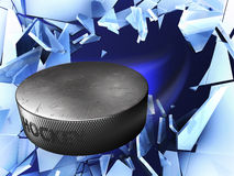 Flying hockey puck and crushed ice Royalty Free Stock Images