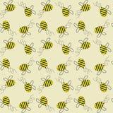 Flying honey bees vector seamless pattern background. stock illustration