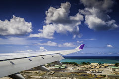 Flying into Honolulu Airport. Moments before touch-down at Honolulu International Airport Stock Images
