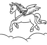 Flying horse Pegasus Coloring Pages Royalty Free Stock Photos