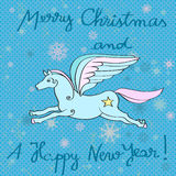 Flying horse year card. Christmas and New Years greeting card with flying horse over a blue background with dots and snowflakes royalty free illustration