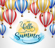 Flying Hot Air Balloon with Say Hello to Summer. Message on Orange and Blue Water Color Paint Vector Illustration Royalty Free Stock Image