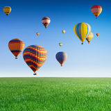 Flying hot air balloons Royalty Free Stock Image