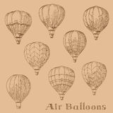 Flying hot air balloons retro engraving sketches. Retro sketches of hot air balloons flying in the sky. Engraving sketch drawings for romantic hobby, tourism Royalty Free Stock Photo