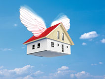 Flying house Stock Photography