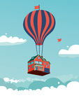 Flying house. House above the clouds. Template for invitation and greeting cards royalty free illustration