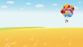 Flying house with colourful ballons Stock Photo