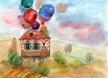 Flying house  (series B) Royalty Free Stock Image