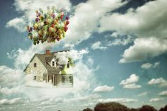Flying house Royalty Free Stock Photography