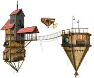Flying houses and boat. 3D render of fantasy flying houses and a wooden boat stock illustration