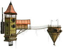 Flying houses. 3D render of two flying houses connected by a bridge Stock Images