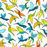 Flying hummingbird birds seamless pattern vector illustration