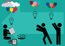 Flying ideas to reader. Vector Royalty Free Stock Image