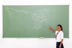 Flying impossible kite. Funny primary schoolgirl flying an impossible kite drawn on chalkboard royalty free stock photos
