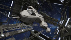 Flying into an impressive space station. A 3D rendered image of flying into an impressive futuristic space station. At the foreground you see a great modern Stock Image
