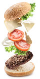 Flying ingredients of hamburger Stock Photo
