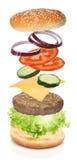 Flying ingredients of hamburger Royalty Free Stock Image