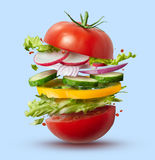 Flying Ingredients Of Vegan Burger Royalty Free Stock Images