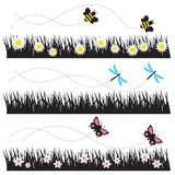 Flying Insects. Vector illustration of bees, dragonflies, and butterflies flying over grass and flower field Royalty Free Stock Photos