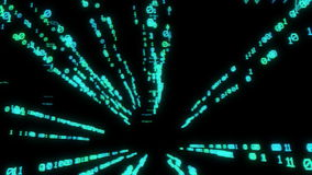 Flying inside the virtual reality with binary code stock footage