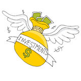Flying Investment Bag Stock Photo