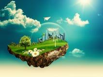 Flying Island. Royalty Free Stock Photography