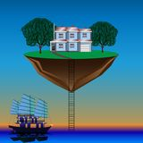 Flying island above the water royalty free illustration