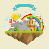 Flying island with Fairy Tale Castle, Balloons, Mountains, Clouds, Trees, Sun, Rainbow, Dragon and Ribbon royalty free illustration