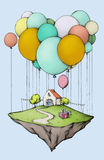 Flying island with home and garden, decorated for a birthday. Illustration of flying island with home and garden, decorated for a birthday Royalty Free Stock Image