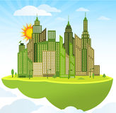 Flying island (modern city) Royalty Free Stock Images