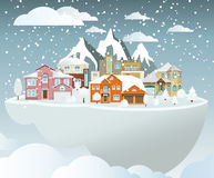 Flying island (village in winter) Royalty Free Stock Photo