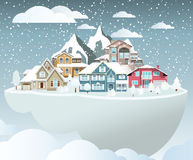 Flying island (village in winter) Stock Image