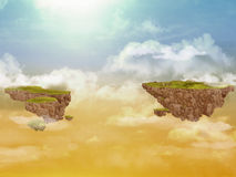 Flying islands in the sky. Stock Images