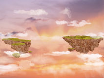 Flying islands in the sky. Royalty Free Stock Image