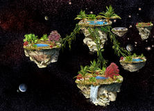 Flying islands in space Stock Photo