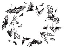 Flying isolated bats Royalty Free Stock Photos