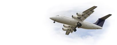 Flying jet airplane Stock Photography