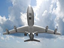 Flying jet airplane. Stock Images