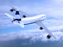 Flying jet airplane. Stock Photo